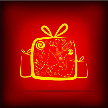 Vector : Christmas icons on red background