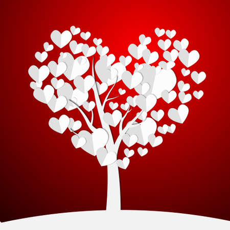 Vector : Paper hearts on tree on red background