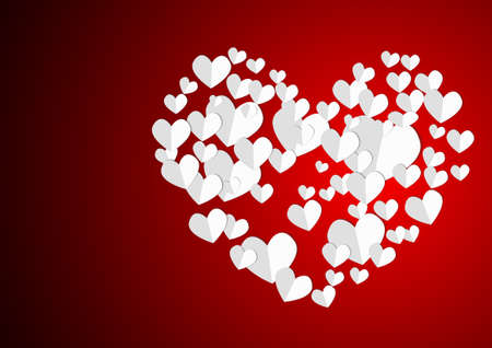 Vector : Heart papers on red background