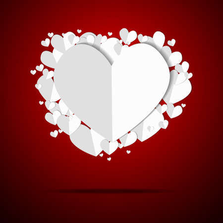 Vector : Paper hearts float on red background