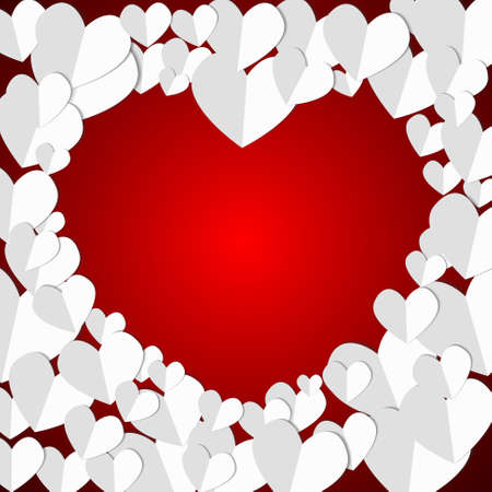Vector : Paper hearts on red background