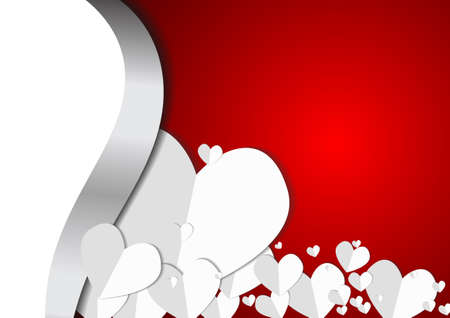 Vector : Paper hearts on red background with empty space for text