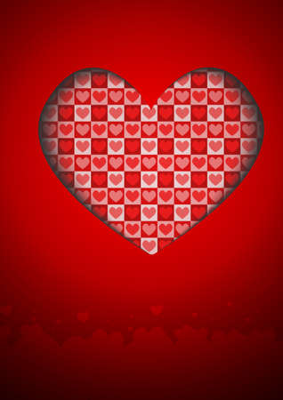 Vector : Hearts on red card Illustration