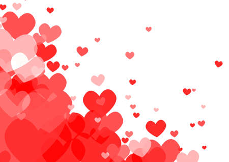 white: Vector : Red hearts on white background