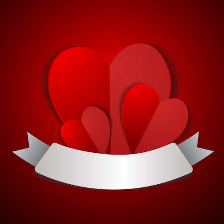 Vector : Three hearts with label on red background Illustration