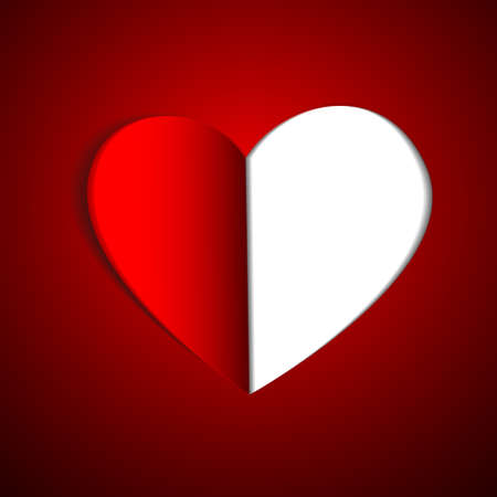 Vector : Paper heart on red background