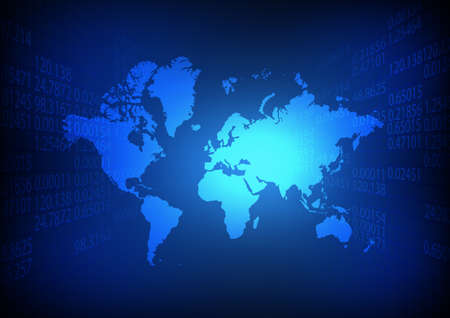 Vector : World map with business number on blue background Illustration