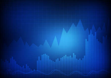 Vector : Business graph chart on blue background Illustration
