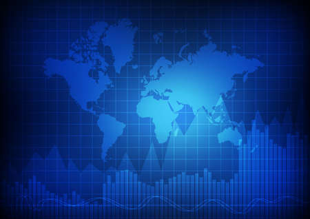 Vector : World map with business graph on blue background