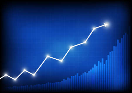 Vector : Increasing arrows and business graph on blue background