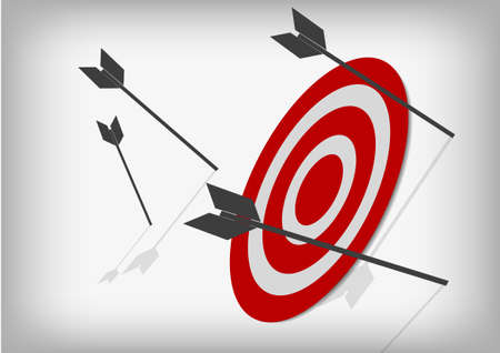 Vector : Archery targets and missed arrows on gray background Stock Illustratie