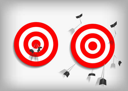 Vector : Archery targets and missed arrows on gray background Vectores
