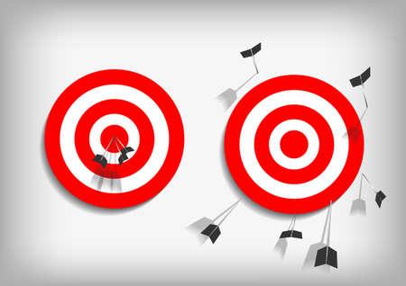 Vector: objetivos de tiro con arco y flechas perdidas sobre fondo gris