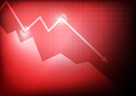 벡터 : 빨간색 배경에 감소하는 비즈니스 그래프