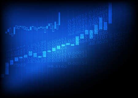 벡터 : 파란색 배경에 증가 비즈니스 그래프
