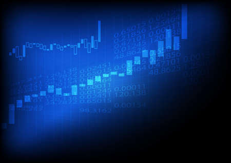 Vector : Increasing business graph on blue background