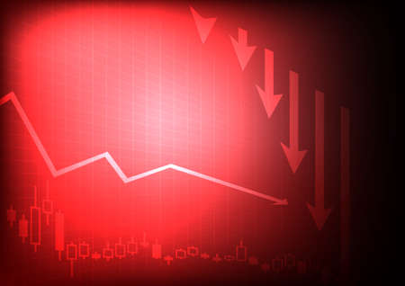 Vector : Decreasing business graph on red background Illustration