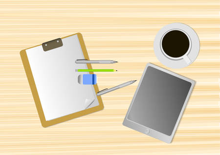 Vector : Empty paper tablet and coffee on table.