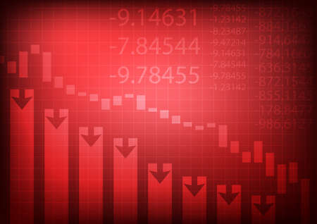 Vector : Decreasing business graph on red background  イラスト・ベクター素材