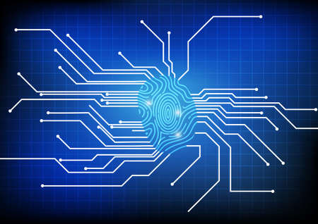 Vector : Finger print with electronic circuit background