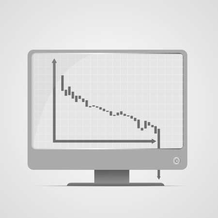 Vector : Decreasing business graph on computer monitor