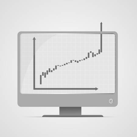 Vector : Increasing business graph on computer monitor