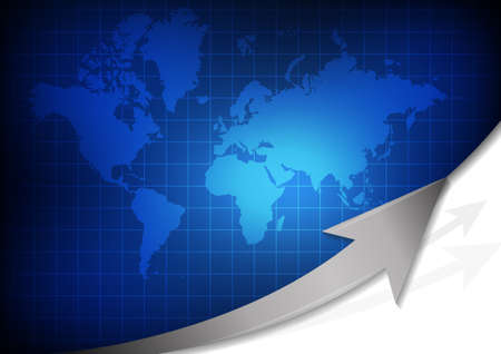 Vector : World map with arrow on blue grid background