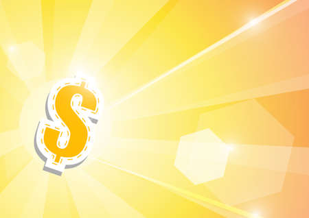 Vector : Dollar signs and len flare on orange background