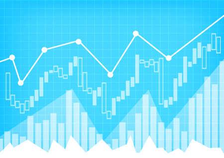 Vector : Business graph on blue grid background Ilustração Vetorial