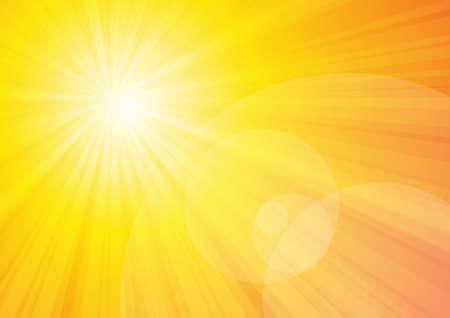 Vector: zon schijnen met gele achtergrond