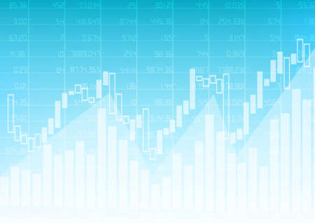 Vector : Business graph with stock board on blue background