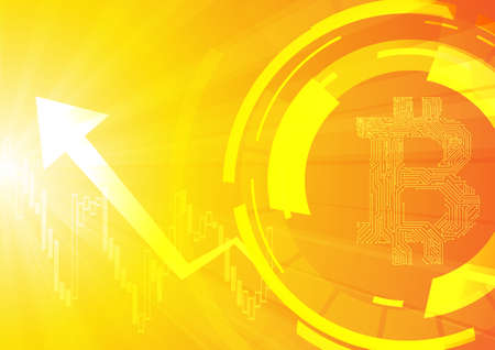 Vector : Electronic circuit inside bitcoin symbol with business graph on orange background