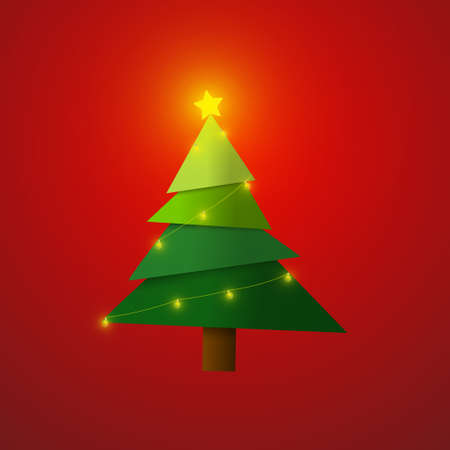 Vector : Christmas tree with lightbulb on red background