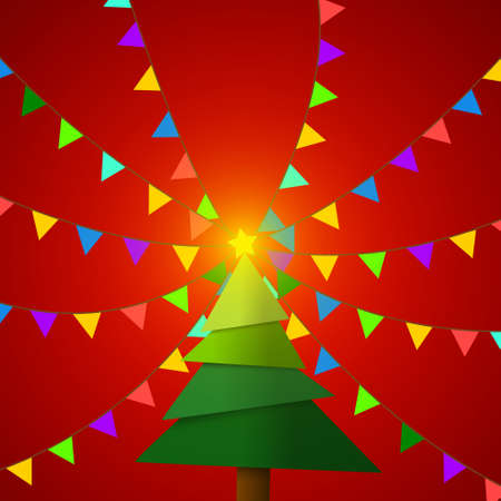 Vector : Christmas tree with pennant flags on red background Ilustração