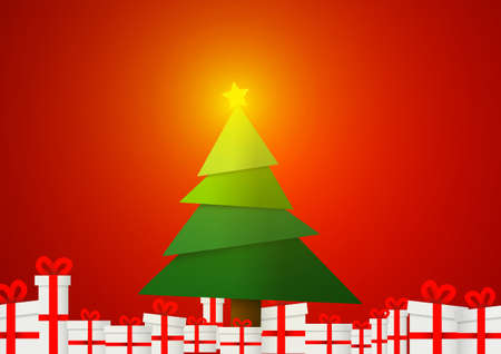 Vector : Christmas tree with present boxes on red background Ilustração