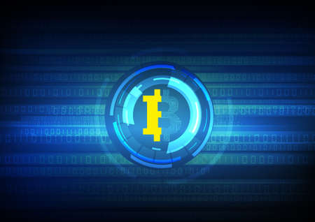 Vector : Electronic circuit inside bitcoin symbol with binary symbol on blue background