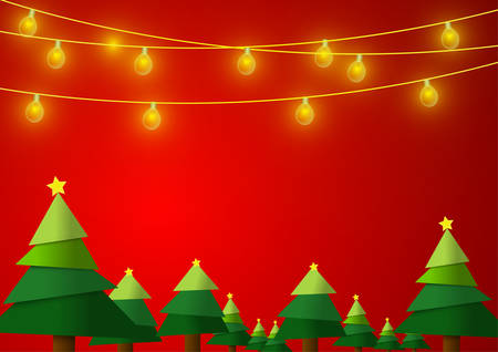 Vector : Christmas trees with lightbulb on red background Ilustração