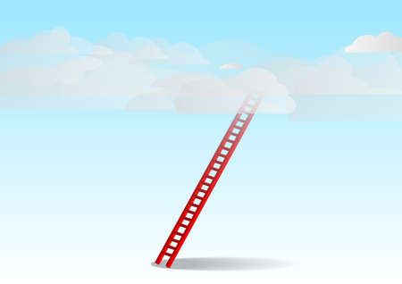 Vector : Red ladder with cloud with business concept