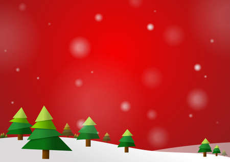 Vector : Christmas trees with snow on red background Ilustração