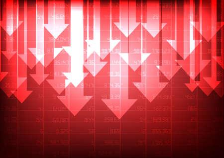 Vettore: mercato azionario rosso con freccia decrescente su sfondo rosso