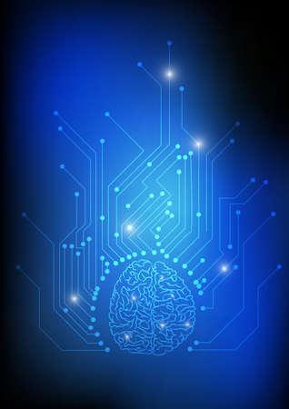 Vector: cerebro y circuito electrónico sobre fondo azul. Ilustración de vector