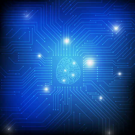 Vector : Brain and electronic circuit on blue background 向量圖像