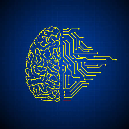 Vector : Brain and electronic circuit on blue background
