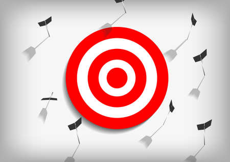 Vector : Arrows and missed archery target on gray background Illustration