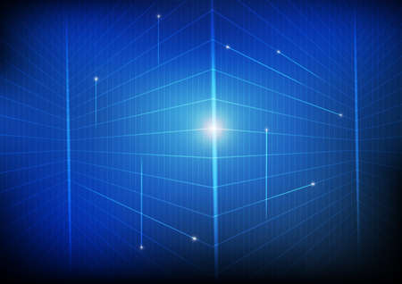 Vector : Perspective grid network on blue background