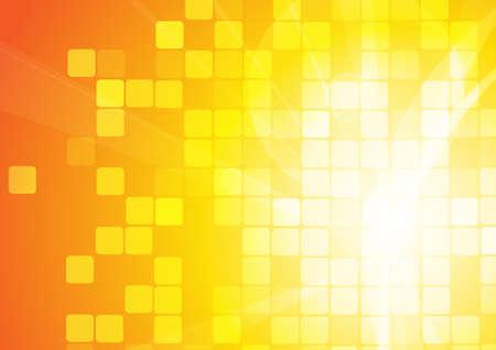 Vecteur : Courbe abstraite et carrés sur fond orange
