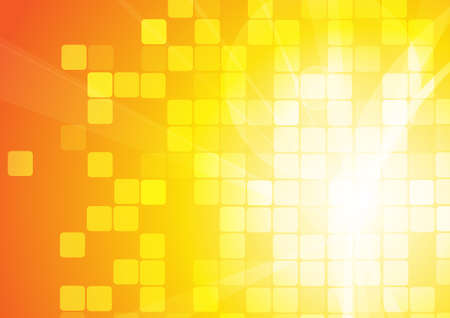 Vector : Abstract curve and squares on orange background