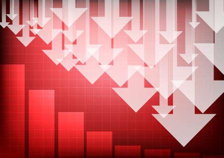 Vector : Arrows with decreasing business graph