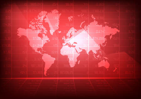 Vector : Decreasing business graph with world map on red stock board