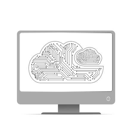 Vector : Electronic circuit inside cloud on computer monitor